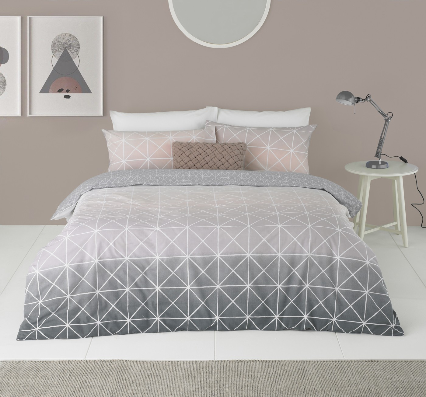 The Home Furnishings Company Spectrum Grey/Pink Duvet Set