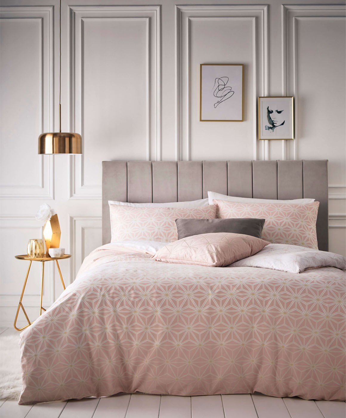 The Home Furnishings Company Tessellate Blush/Gold Duvet Cover and Matching Pillow Cases