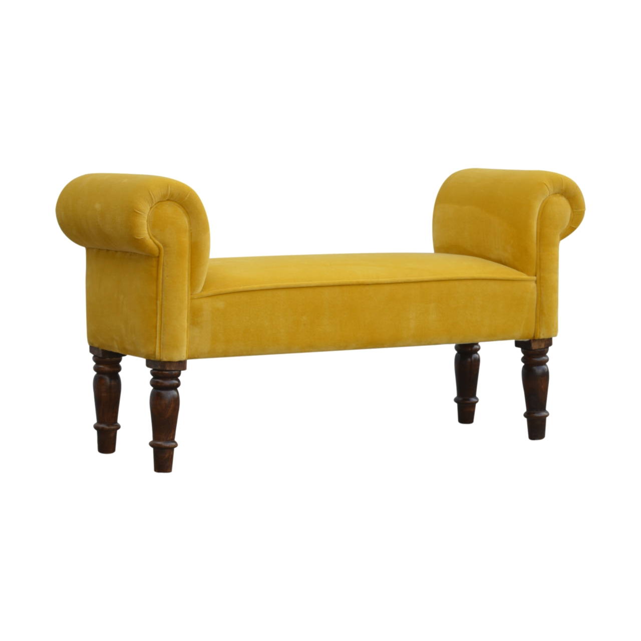 The Home Furnishings Company Ochre Mustard Velvet Bench