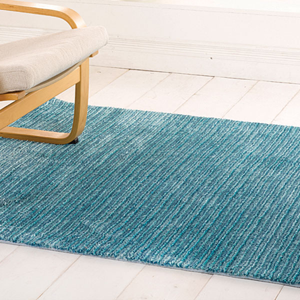 The Home Furnishings Company Neptune Striped Rug 120cx170ms - Choice of 3 Colours -  Blue, Green or Purple
