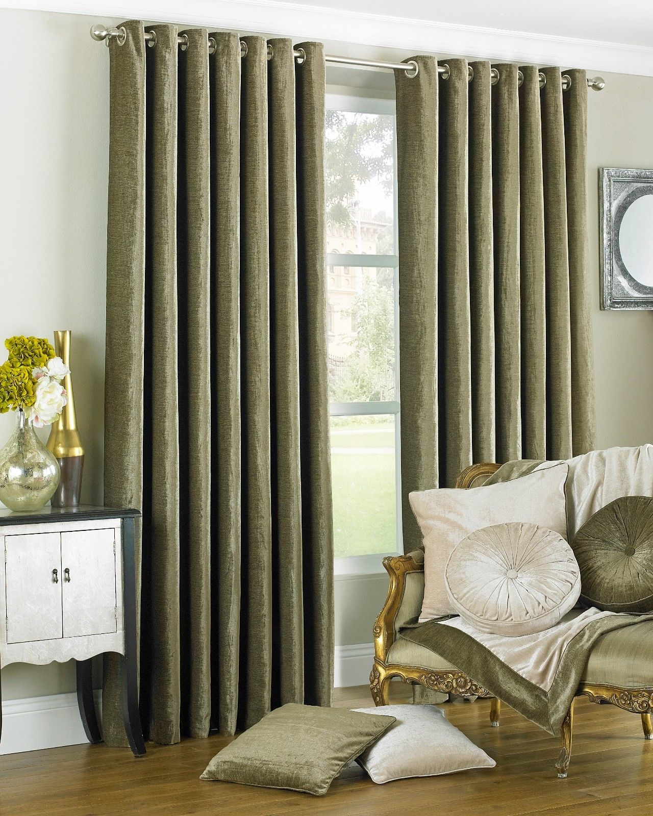 The Home Furnishings Company Wellesley Mocha Faux Curtains and Cushions