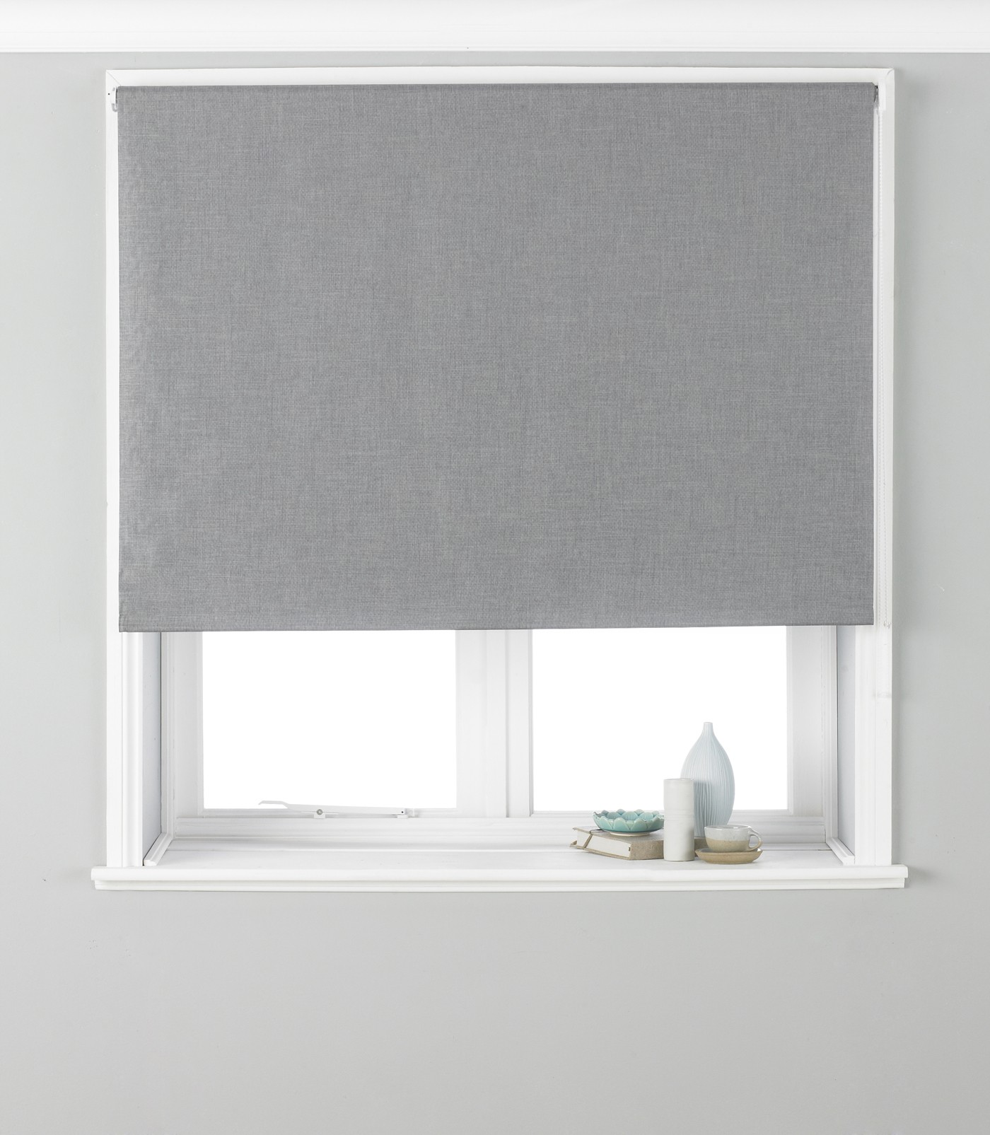 The Home Furnishings Company Grey Eyelet Blackout Curtains, Blind and Cushion