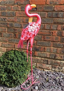 The Home Furnishings Company Frankie Flamingo Solar Vintage Style Metal Garden Light