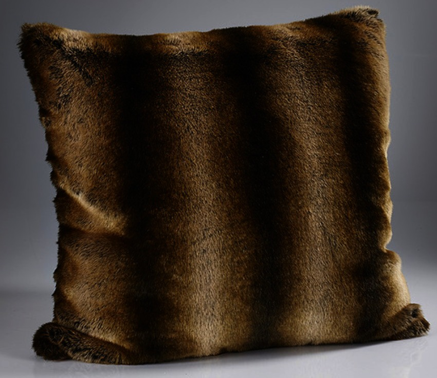 The Home Furnishings Company Gold Alaska Large Luxury  Faux Fur Cushion 60x60 cms with Feather Pad