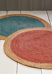 The Home Furnishings Company Turquoise and Terracotta Jute Circular Rugs 90cms