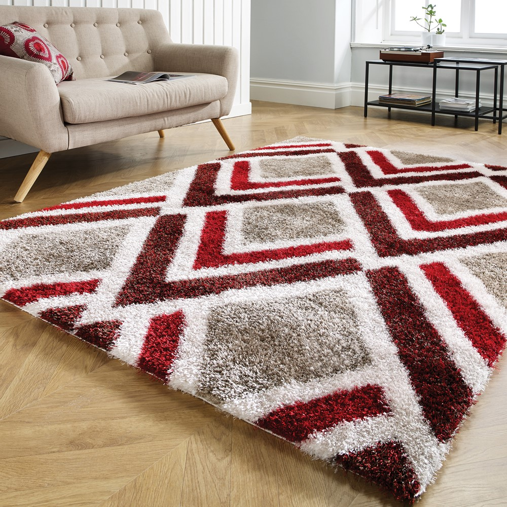 The Home Furnishings Company Bijoux Red and Brown Velvet Soft Rug