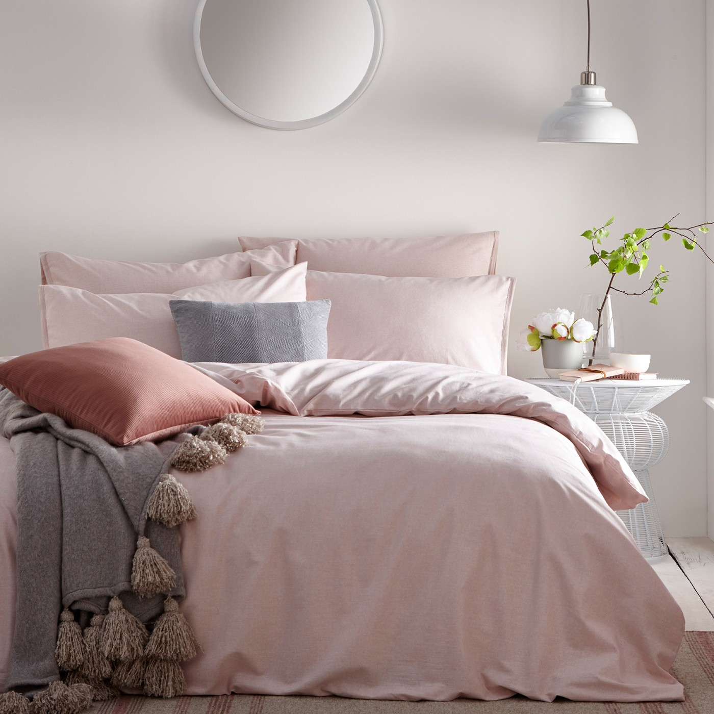 Claybourne Blush Duvet Cover And Matching Pillow Cases
