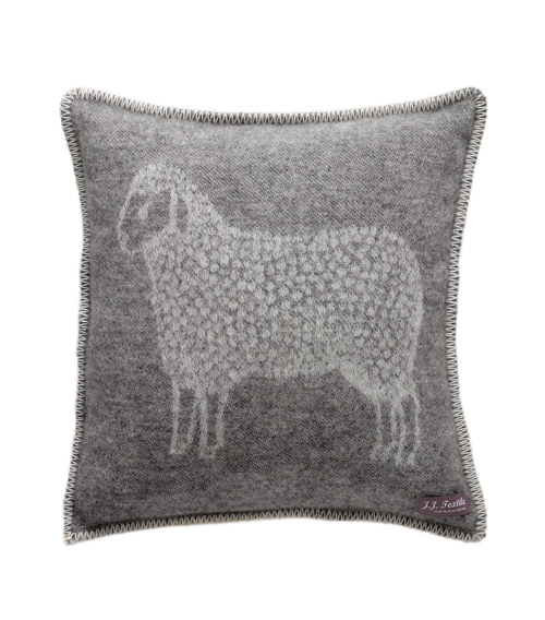 The Home Furnishings Company 100% New Zealand Wool Sheep Cushion in grey size 45x45 cms