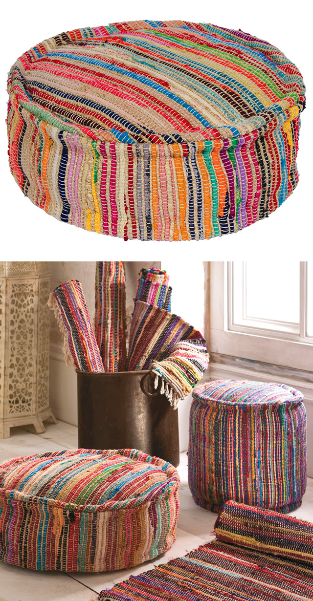 The Home Furnishings Company 100% Recycled Cotton Multi Colour Pouffes