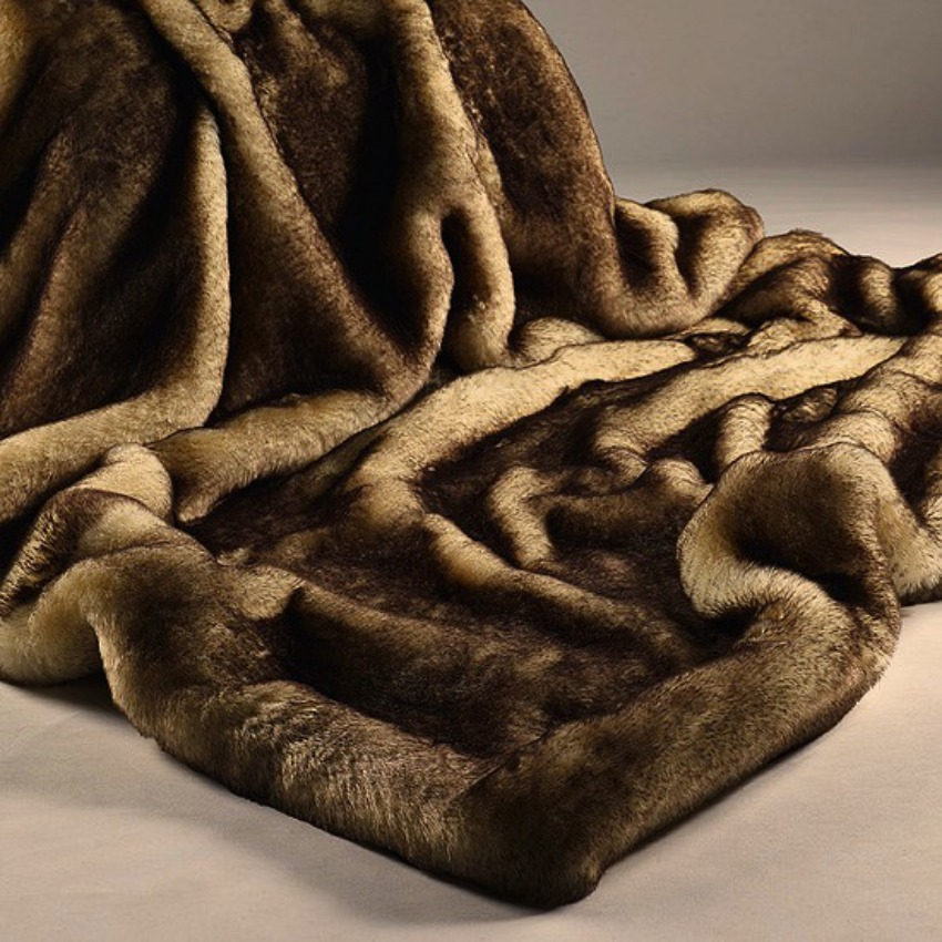 The Home Furnishings Company Brown Snow Fox Luxury Faux Fur Runner Throw size 70x240 cms