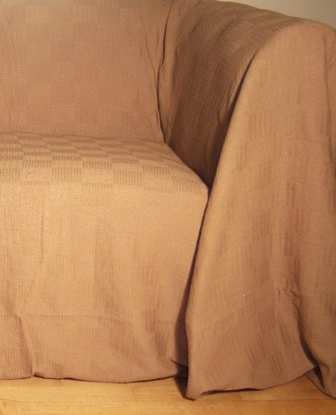 The Home Furnishings Company 100% Cotton Beige Throw 130x150 cms -Ideal for Pouffees, Chairs, Sofas and Beds ONLY £12.99