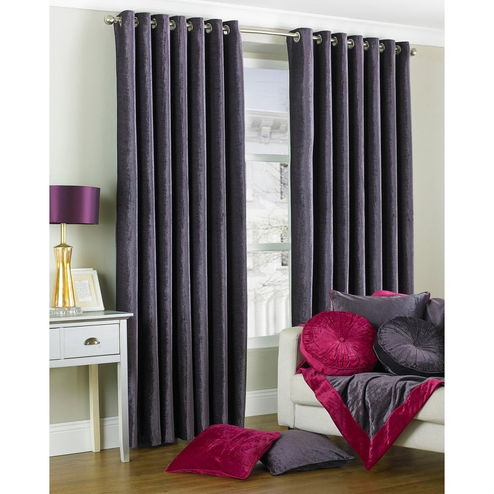 The Home Furnishings Company Wellesley Plum Faux Curtains and Cushions