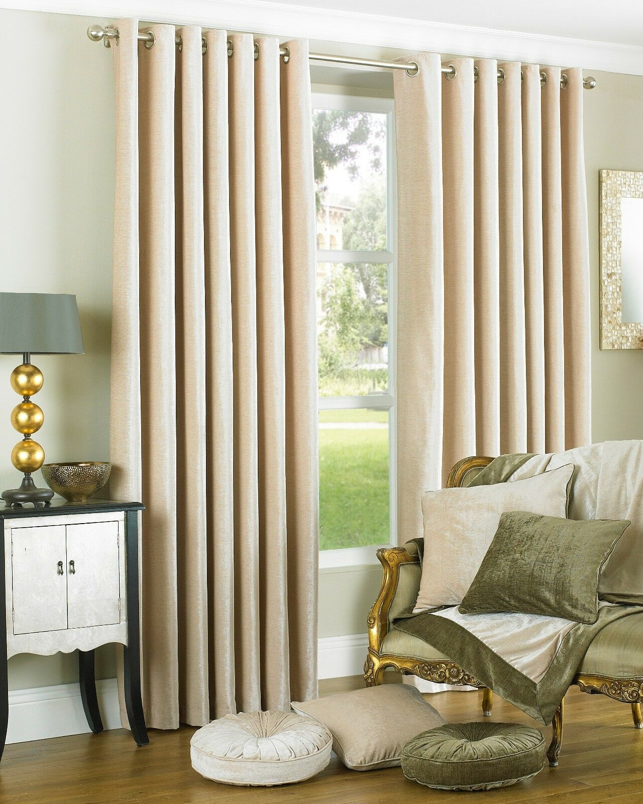 The Home Furnishings Company Wellesley Natural Faux Curtains and Cushions