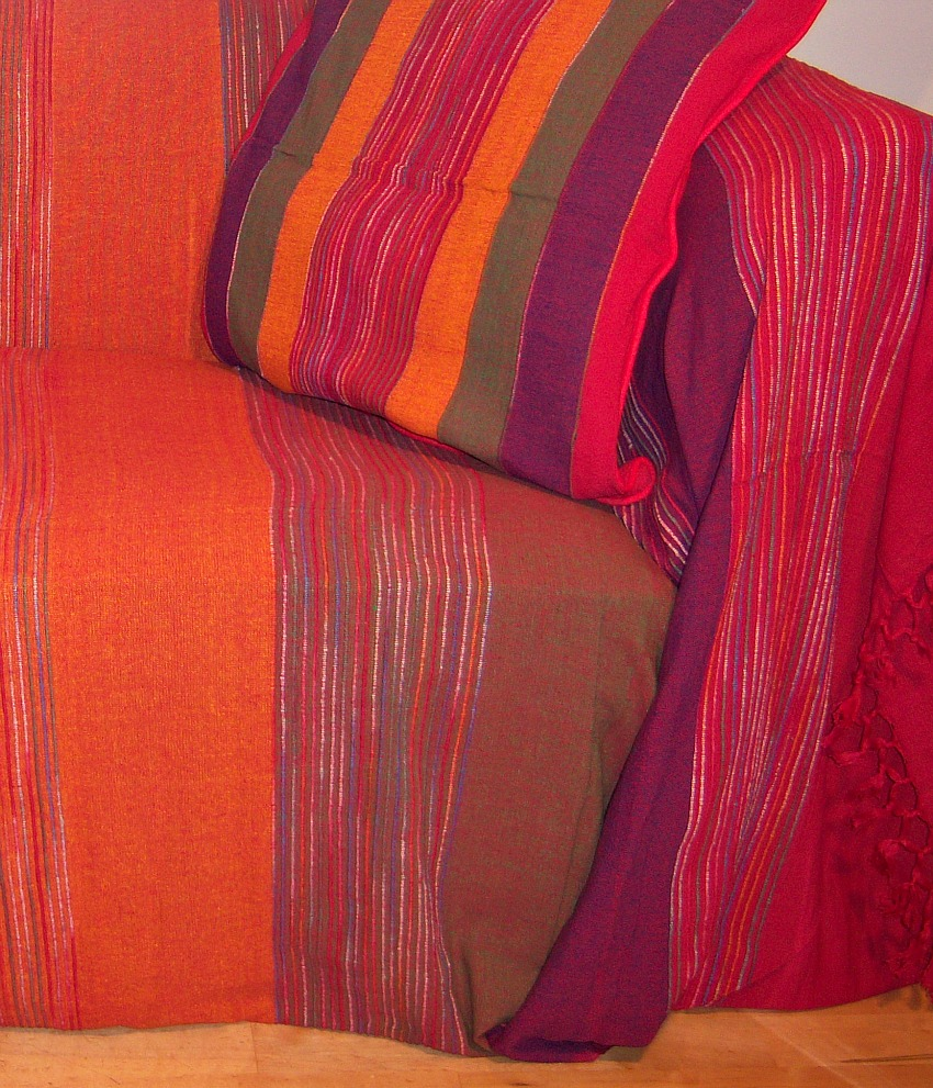 The Home Furnishings Company 100% Cotton Large Red Spice Stripe Cushion 55x55 cms ONLY £14.99 each