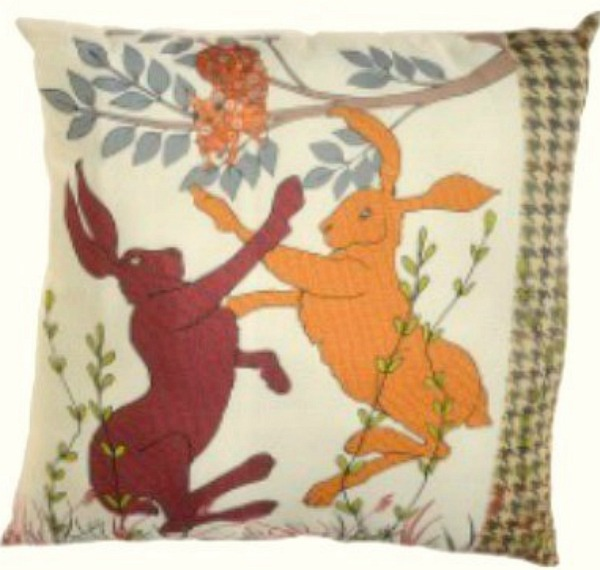 The Home Furnishings Company Boxing Hare Woodland Cushions 32x32 cms