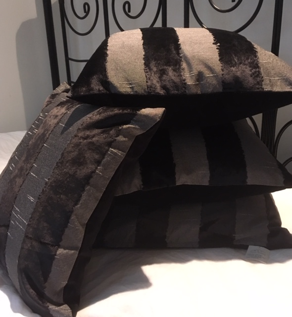 The Home Furnishings Company Black and Grey Velvet and Silk Style Cushion Covers - only £12.99 set of 4