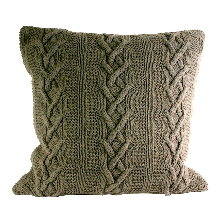The Home Furnishings Company 100'% Cotton Charcoal Aran Cable Knit  Large Cushion 55x55 cms -  includes generous inner pad