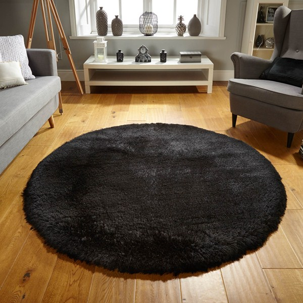 The Home Furnishings Company Black Super Luxurious Silky Shaggy Rug 150x150 cms