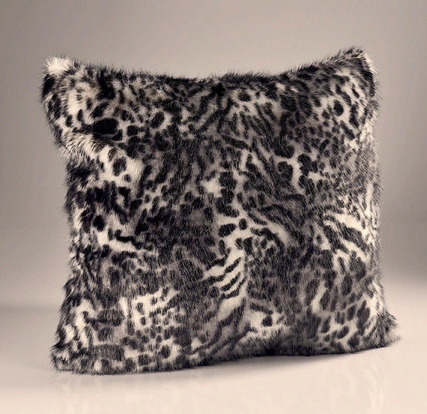 The Home Furnishings Company Grey Leopard Luxury Faux Fur Throw and Cushons