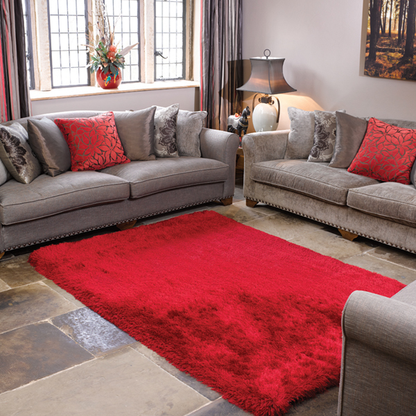 The Home Furnishings Company Red Super Luxurious Silky Shaggy Rug 200x290cms