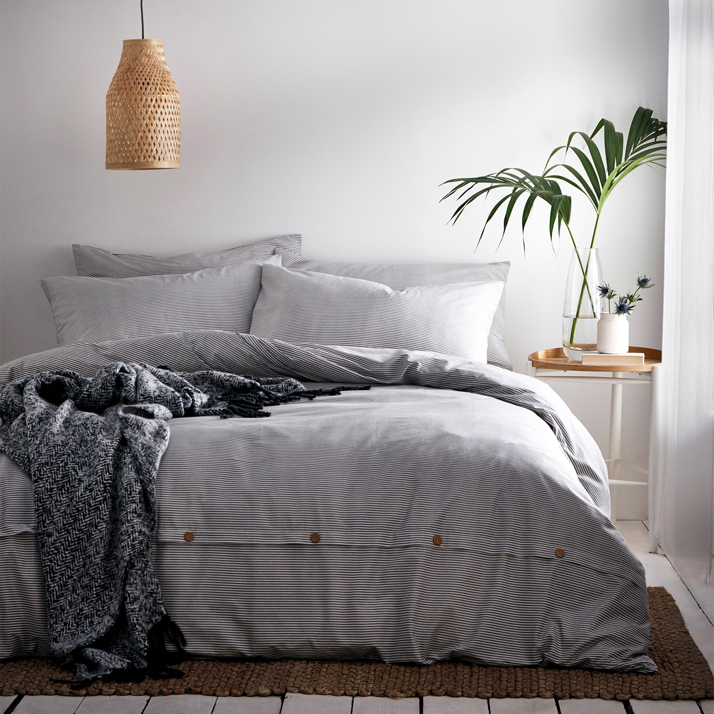The Home Furnishings Company Cotton Holbury Grey Duvet Cover and Matching Pillow Cases