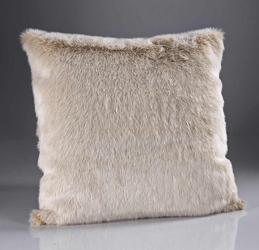 The Home Furnishings Company Beige Frost Luxury Faux Fur Cushion 58x58 cms