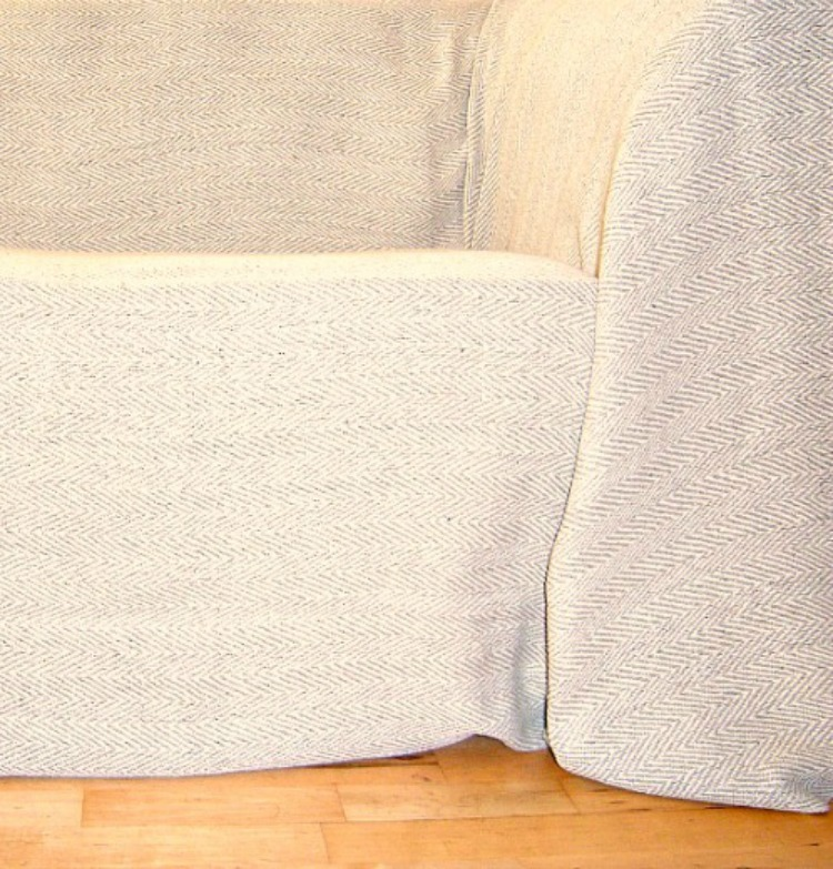 The Home Furnishings Company 100% Cotton Natural and Beige Herringbone Throw for chairs, sofas and single bed 180x250 cms