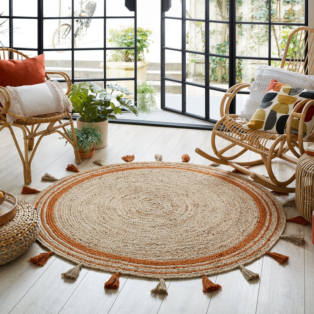 The Home Furnishings Company  Istanbul Charcoal Grey Circular Rug 150cms diameter