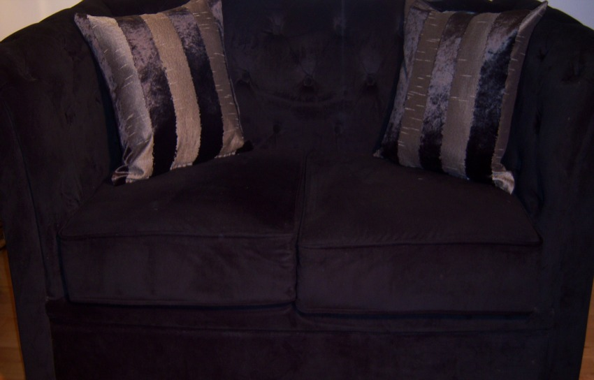 The Home Furnishings Company Black and Grey Striped Velvet and Silk Style Cushion  43x43 cms only £12.99 each