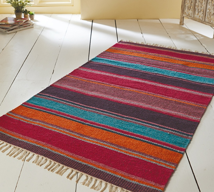 The Home Furnishings Company Multi Stripe Wool Cotton Mix Rug