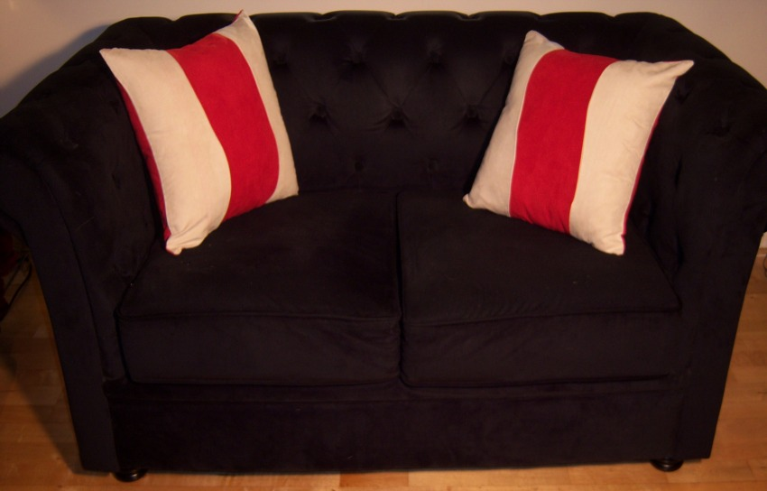 The Home Furnishings Company Red and Cream Suedettte Cushion  43x43 cms only £12.99 each