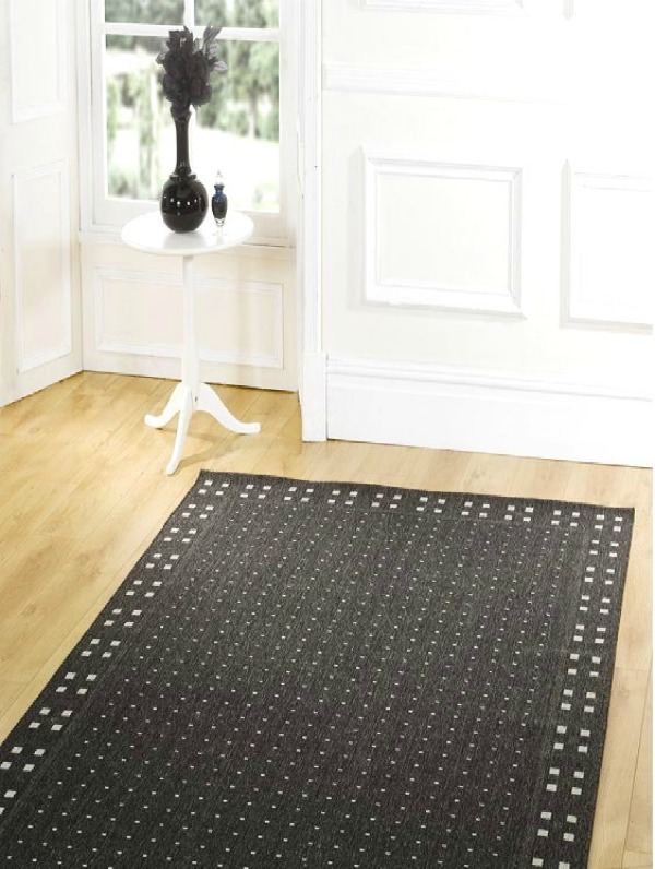 The Home Furnishings Company Large Black  Rug 160 x 230 cms.  Natural Flooring/Matting Style. Easy to Clean.