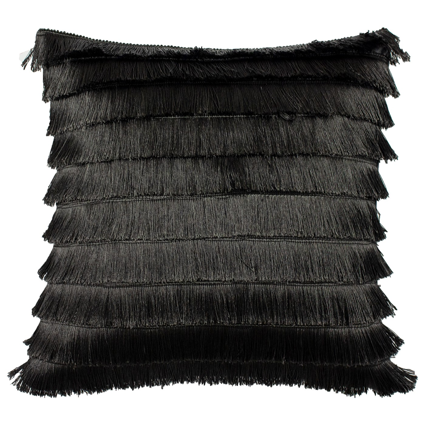 The Home Furnishings Company Flicker Graphite Fringed Cushion 45x45cms