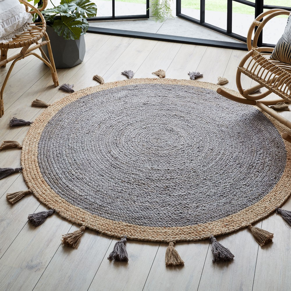 The Home Furnishings Company  Istanbul Charcoal Grey Circular Rug 150cms diameter  [copy]