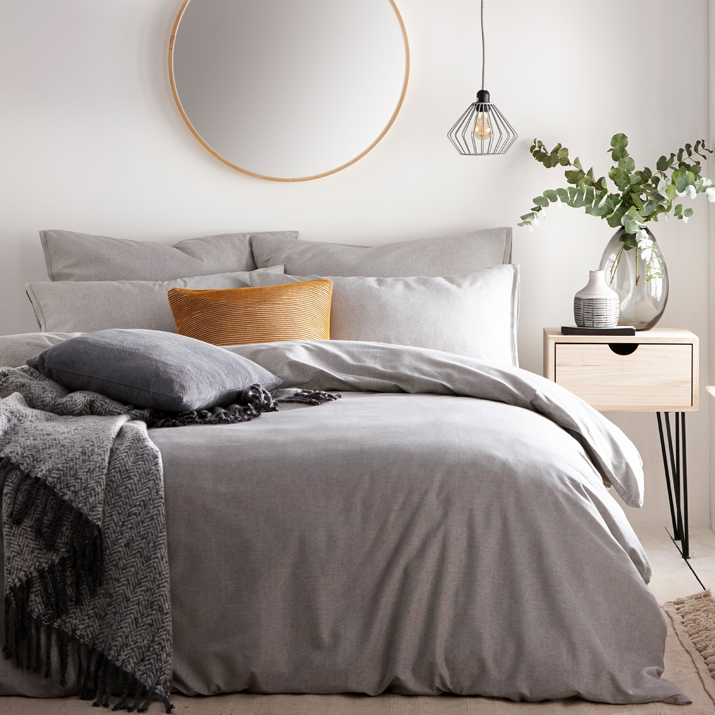 The Home Furnishings Company Claybourne Grey Duvet Cover and Matching Pillow Cases