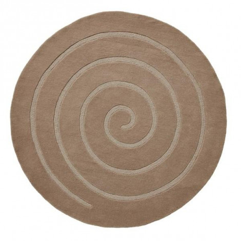 The Home Furnishings Company Luxury Wool Beige Circular Rug