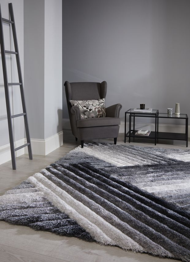 The Home Furnishings Company Verge Lattice Grey/Silver Rug 120x170cms