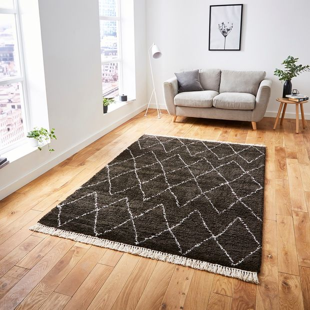 The Home Furnishings Company Brown and White 8280 Boho Rug 160x230cms