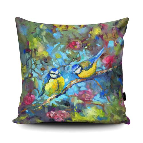 The Home Furnishings Company Bluebirds and Blossom  Floor Cushion Giant Size: 3 feet x 3 feet - plus scatter cushions