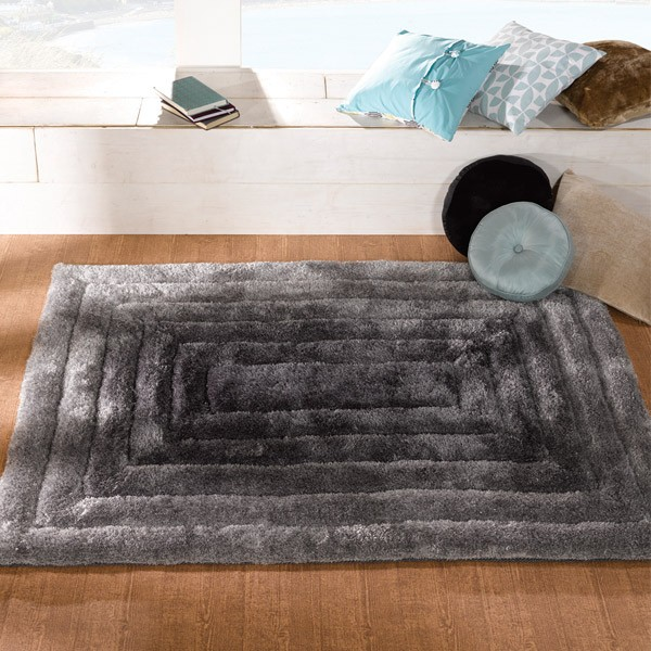 The Home Furnishings Company Ridge Black/Grey Rug 120x170cms