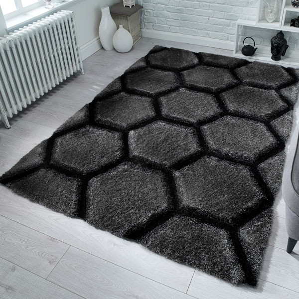 The Home Furnishings Company Honeycomb Charcoal Rug 120x170cms
