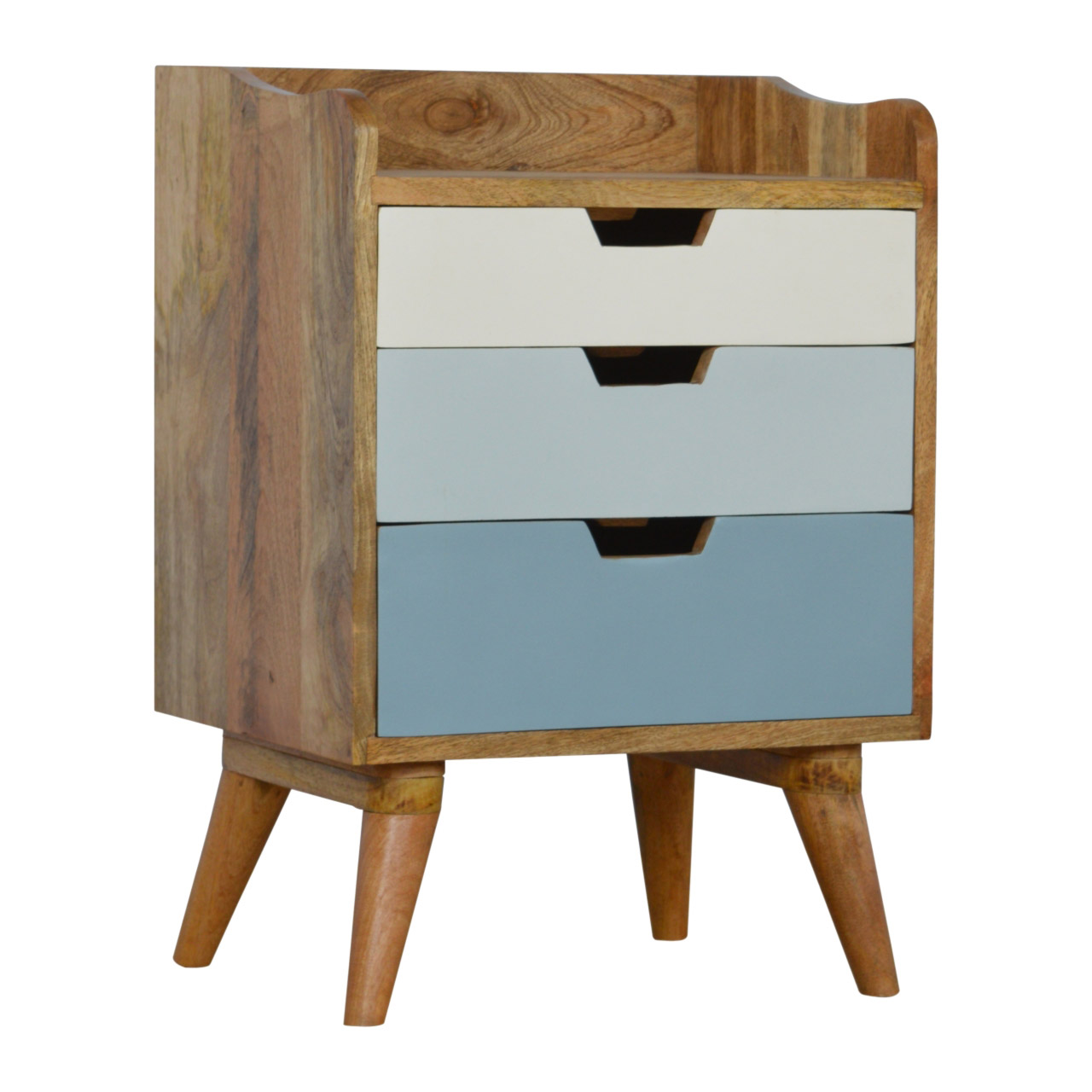 The Home Furnishings Company Nordic Blue and White 3 Drawer Bedside Table