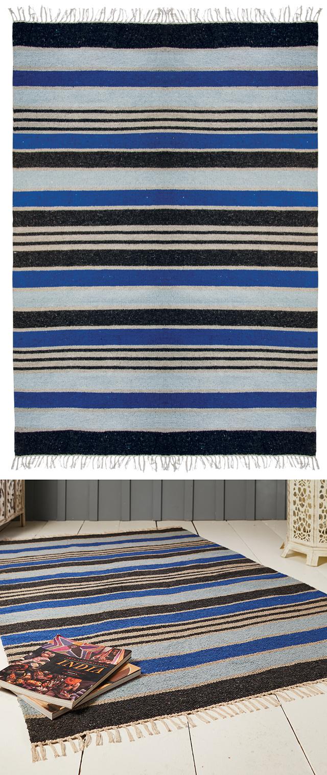The Home Furnishings Company Blue Stripe Recycled Cotton Rug and Runner