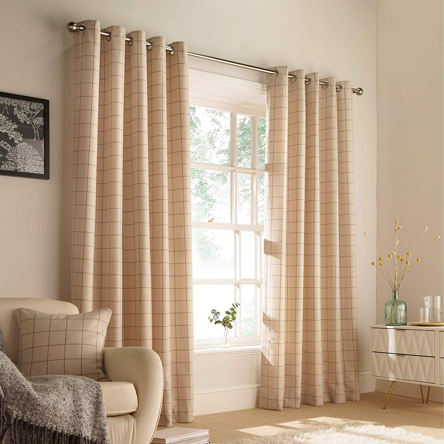 The Home Furnishings Company Ellis Natural Windowpane Curtains and Cushion