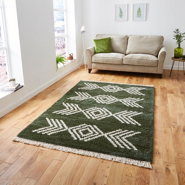 The Home Furnishings Company Green 8886 Boho Rug 160x230cms