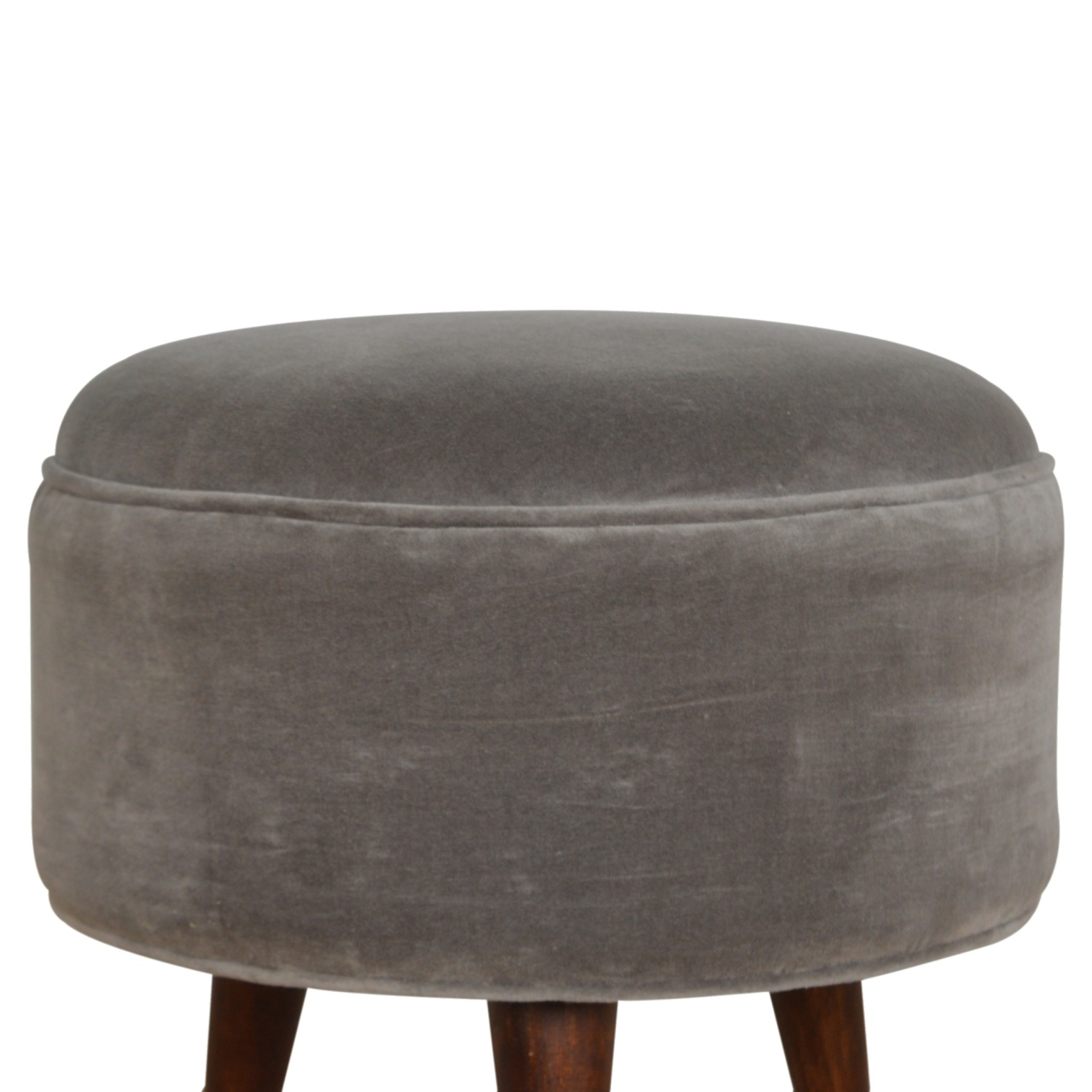The Home Furnishings Company Grey Velvet Nordic Foot Rest Stool