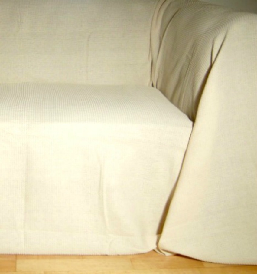 The Home Furnishings Company 100% Cotton Natural/Cream Throws - for all size sofas, chairs, beds