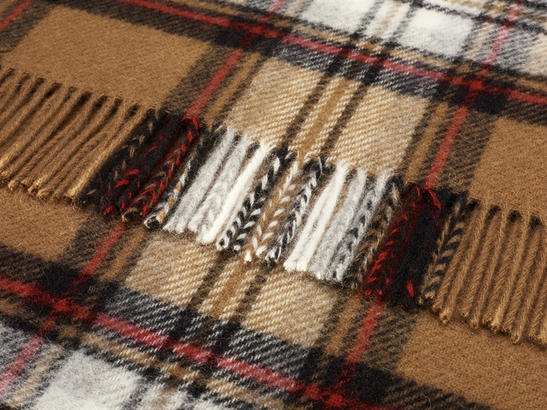 The Home Furnishings Company Pure Wool Camel Stewart Tartan Throw 140x180 cms