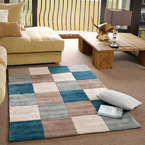 The Home Furnishings Company Infinite Inspire Teal and Duck Egg Squares Rug 120x160cms