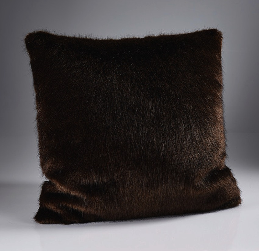 The Home Furnishings Company London Dark Brown Luxury  Faux Fur Cushion 45x45cms with Feather Pad